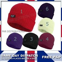 Mens Ladies 3M Thinsulate Fully Fleece Thermal Lined Beanie Hats Winter 99784