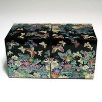 Boîte à bijoux en bois laqué au trésor en nacre