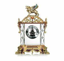 RORO Luxury Enameled 24K Gold Handmade Table Clock, Bohemian Crystal + Swarovski