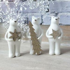 Set of 3 Polar Bears Holding Star Snowflake & Tree Festive Christmas Ornaments
