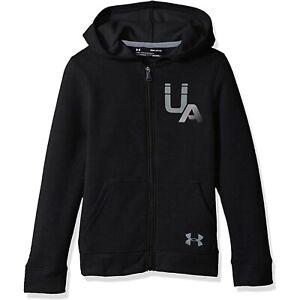 NWT UNDER ARMOUR Boys' UA Rival Logo Full Zip Hoodie Black Size L (14-16)