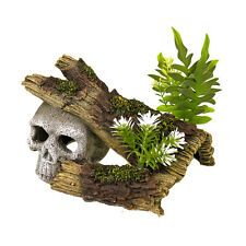 BLUE RIBBON Jungle Skull Hideaway with Plants Aquarium Ornament  EE-1019