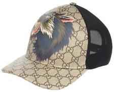 "NEW GUCCI GG SUPREME CANVAS ""WOLF' HEAD PRINT BASEBALL HAT CAP UNISEX  58/M"