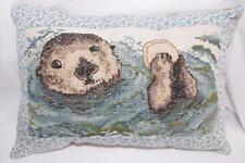 "Otter Pillow Decorative Throw Pillow Cross Stitch Handmade 11""x8"" Corduroy Back"