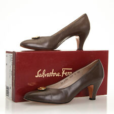 Vtg Salvatore Ferragamo Brown Leather Heels with Gold Hardware - Womens 9 2A