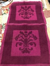 Pair Vintage Fieldcrest Purple Patterned Washcloth Imperial Collection Pair