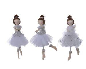 3 Fairy Ballerina Angel Dolls Christmas Tree Decorations Silver & White Glitter