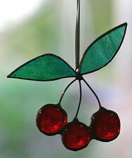 CHRISTMAS CHERRIES Stained Glass Hand Made TREE & WINDOW DECORATIONS SUNCATCHERS