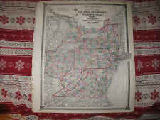HUGE ANTIQUE 1875 NEW YORK JERSEY PENNSYLVANIA DELAWARE WEST & VIRGINIA MAP NR