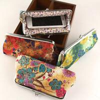 Vintage Women Flower Kiss Lock Long Coin Purse Phones Keys Holder Wallet Sanwood