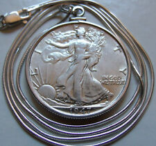 "1947 Mint Walking Liberty Silver .925 Pendant on a 22"" Italy Silver Snake Chain"