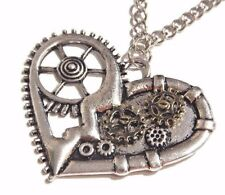 ROBOT HEART NECKLACE silver gold moving gear clockwork industrial pendant NEW Z6