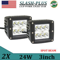"""2X 3""""in 24W Square LED Cube Pods Work Light Offroad Truck 4WD Forklift Bckup 16W"""