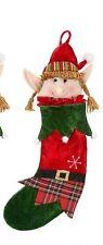 Elf Xmas Stocking Stuffer Fillable Stocking Xmas Decor Elves Mantel Hanging Girl