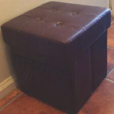 Ottoman Storage Faux Leather Tuffted Purple Cube Stool Organization