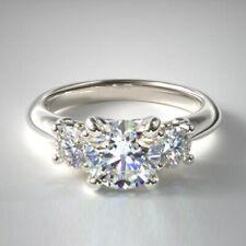 Round Cut 0.90 Ct Size 5 6 7.5 Platinum Real Diamond Three Stone Ring For Ladies
