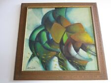 PAINTING LARGE MOD CUBISM CUBIST FILIPINO PORTRAIT ABSTRACT VINTAGE FARM WORKERS