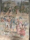 Antique Wall Tapestry, ARAZZO, Italian 100% Cotton 53 X 38 w/ Rod,EX