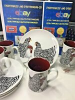 "Lot of 8 Coq DU Village Fitz and Floyd ""Rooster Hen ""Mugs Cup Salad Plate ."