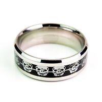 Silver Skulls On Black Carbon Fiber Stainless Steel Ring Unisex Sizes K To Z+1