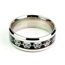 Silver Skulls On Black Carbon Fiber Stainless Steel Ring Men Unisex