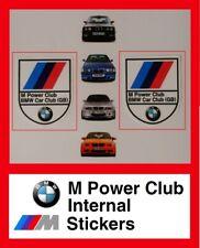 BMW M Power Club 2x internal stickers Car Club Decal internal Sticker