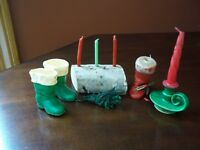 Vintage 1950's Gurley Candles Yule Log, Green & Red Santa Boots, & Chamber Stick