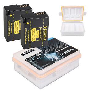 2 Akku DMW-BLC12 Patona + Akku-Box für Panasonic DMC-FZ200, FZ300, FZ1000 FZ2000