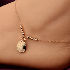 "10"" Rose Gold Lucky Cat Charm Stainless Steel Women Girl's Foot Chain Anklet"