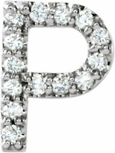 Diamond Single Initial P Earring In 14K White Gold (.06 CTW)