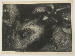 Signed 1959 Stan Brodsky b.1925 print The Dream etching abstract expressionist