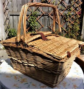 Large Vintage Wicker Picnic Basket  Hamper ~Double Opening with 2 Handles