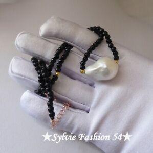 🌟 Superbe collier argent 925 plaqué or Perle baroque blanche et Agate noire