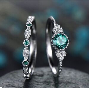 Ring Set Emerald Zircon Ring Fashion Sapphire Engagement Lady Set Ring Jewelry