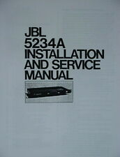 JBL 5234A INSTALLATION and SERVICE MANUAL and SALES BROCHURE 22 Pages