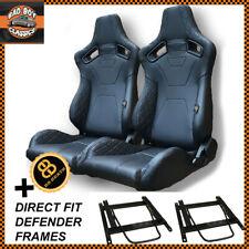 Pair BB6 RS Black Diamond Stitch Reclining Bucket Seats Direct Fit DEFENDER