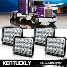 4PCS 4x6 LED Headlight For Peterbilt Kenworth W900B/L T800 T600 T400 Rectangular