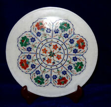 "10"" Marble Plate Malachite Inlaid Floral Pietradure Marquetry Home Decor Gifts"