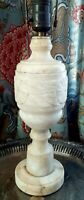 Vintage Alabaster Table Lamp Carved Marble Floral Motif