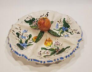 RARE Majolica Italian NOVE  ROSE  Scalloped  Relish Dish ITALY 1930's