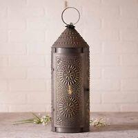 "22"" Decorative Punched Tin Chimney Lantern in Blackened Tin"