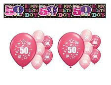 50TH  BIRTHDAY PARTY PACK DECORATIONS BANNER BALLOONS (SE.P.2)
