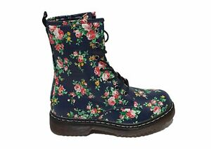 Womens Bloggers Style Chunky Lace Up Navy Floral Ankle Boots UK Size 3-8