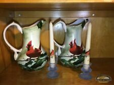 Pair 2 Hautman Brothers Cardinals In Holly Pitchers And Ice Blue Candlesticks