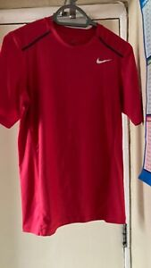 NIKE DRI-FIT RED  Running Activewear Workout Top L UK 12 .Good Condition