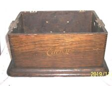EDISON CYLINDER PHONOGRAPH CASE BOTTOM WITH ORIGINAL FINISH AND DECAL