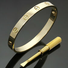 Authentic CARTIER Love 18k Yellow Gold Bangle Bracelet Size 16 Pouch Papers