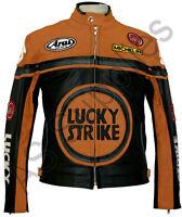 LUCKY STRIKE Veste de Moto en Cuir Blouson Motard - Noir / Orange
