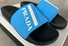 Prada Fluo Blue Rubber Sandals size US 11 Made in Italy