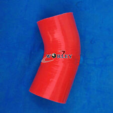 "4"" TO 4"" Inch 102mm 45 Degree Elbow Silicone Hose REDUCER Intake TURBO pipe red"